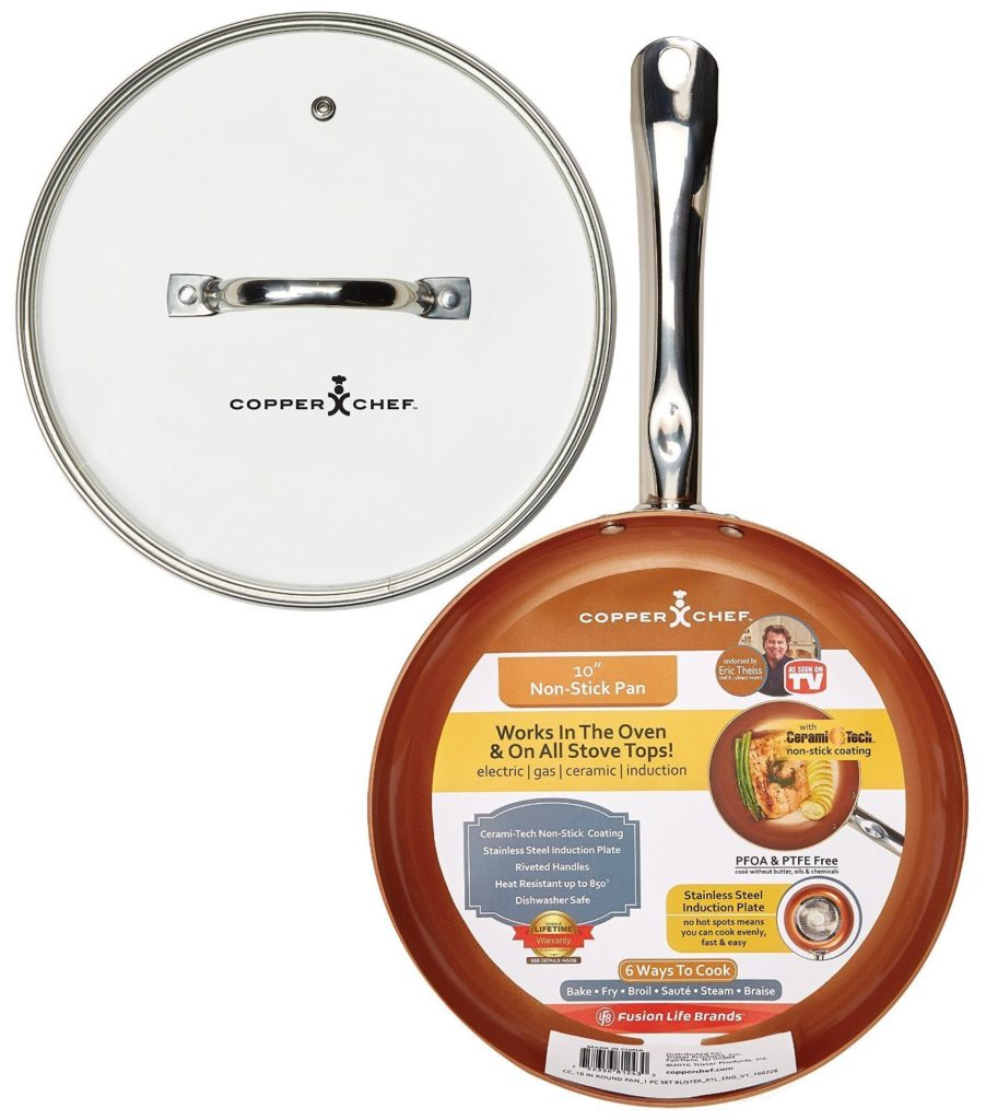 "Copper Chef 10"" Round Pan with Glass Lid"