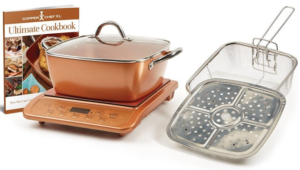 Copper Chef XL 11 inch Casserole 5-Piece Set  and Induction Cooktop
